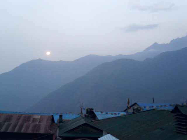Morning Moon over Lukla Nepal Last Minute Travel Ideas | 2013