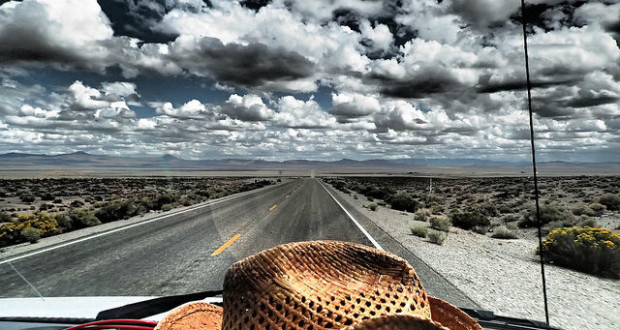 Deserted Road with Cowboy Hat