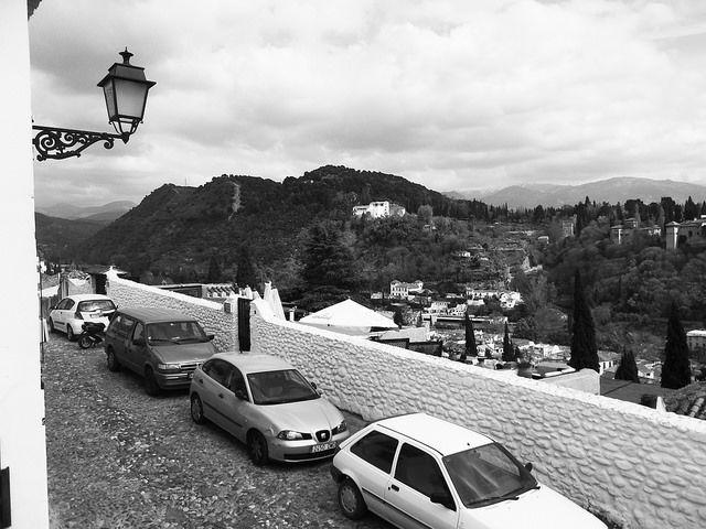 Granada Spain in black and white