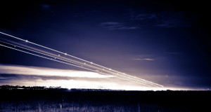 Plane Lights Landing at Night