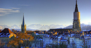 Bern Switzerland - Snowy Bern with Alps