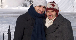 Freezing our asses off In Quebec City in front of Montmorency Falls