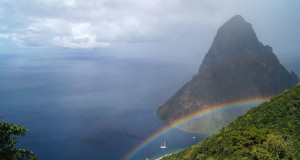 Exploring the Island of St. Lucia - Petit Piton with a rainbow