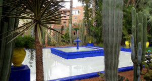 Marrakesh Morocco - Its People and Sights - Fountain with the deep blue in Majorelle Garden