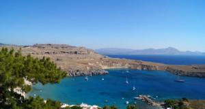 Island of Rhodes Greece - Lindos harbor on Rhodes
